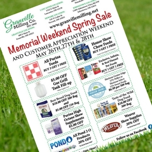 Memorial Weekend Spring Sale- 5/26 - 5/28