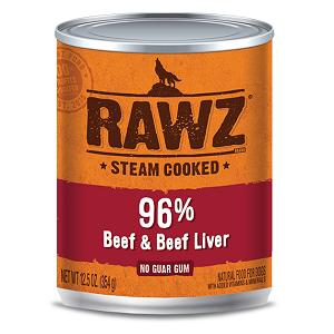 RAWZ Steam Cooked 96% Beef & Beef Liver Dog Food