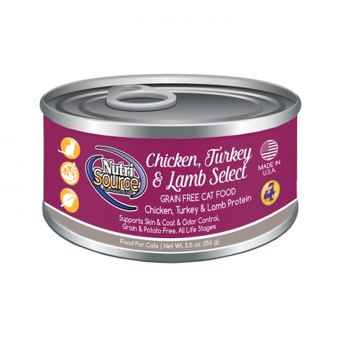 NutriSource® Chicken, Turkey & Lamb Select Grain Free Canned Cat Food