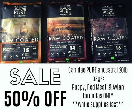 50% Off Canidae PURE Ancestral 20lb Bags!
