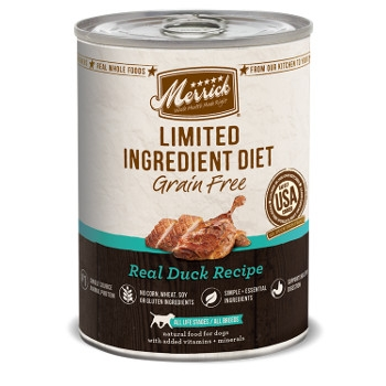 Limited Ingredient Grain Free Real Duck Canned Dog Food, 12.7 oz.