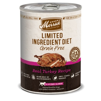 Limited Ingredient Grain Free Real Turkey Canned Dog Food, 12.7 oz.