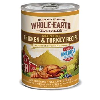 Whole Earth Farms Grain Free Chicken & Turkey Canned Dog Food, 12.7 oz.