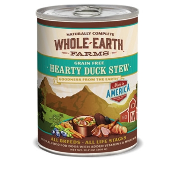 Whole Earth Farms Grain Free Hearty Duck Stew Canned Dog Food, 13 oz.