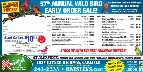 Knisely's 57th Annual Bird Seed Sale