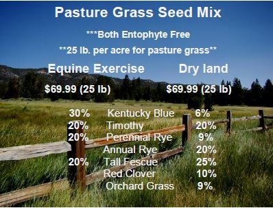 Pasture Grass Seed Mix 25lb Bags $69.99/each