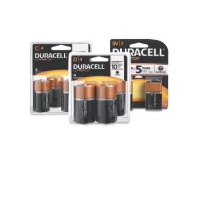 7.99 Duracell Alkaline Batteries C, D 4Pk, 9V 2Pk