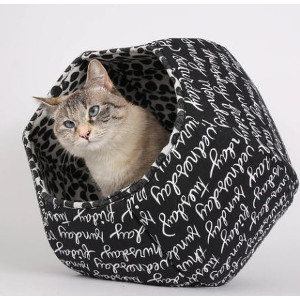 Weekdays Black and White Cat Ball Cat Bed
