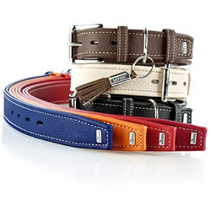 Hunter Cow Nappa Leather Dog Collar and Leashes