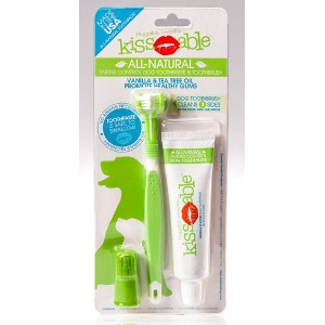 Kissables All Natural Toothpaste and Toothbrush Combo For Dogs