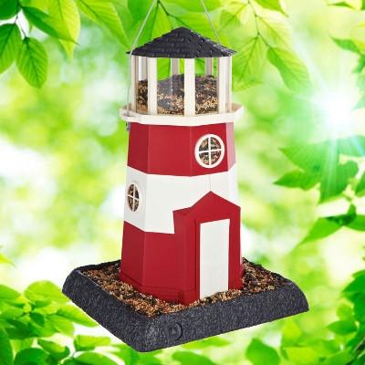 North States Red & White Lighthouse Birdfeeder