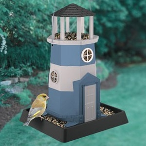 Large Blue & White Lighthouse Birdfeeder