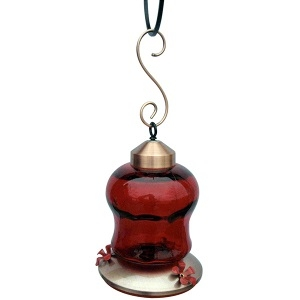 Ruby Glass Hummingbird Feeder