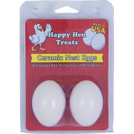 Happy Hen White Ceramic Nest Eggs, 2pk
