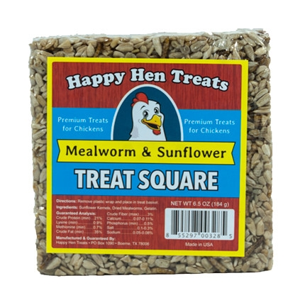 Happy Hen Mealworm & Sunflower Treat Square for Chickens