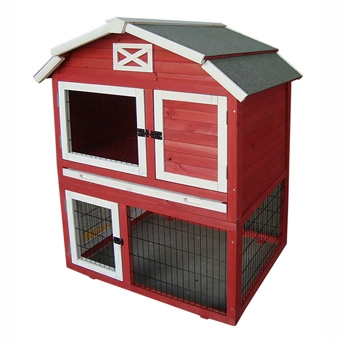 PRECISION PET OLD RED BARN RABBIT HUTCH