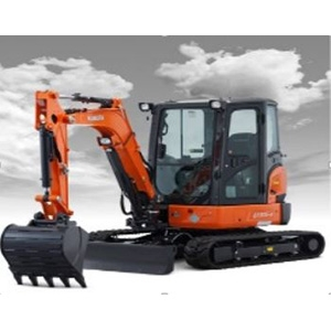 Excavator with Rubber Tracks