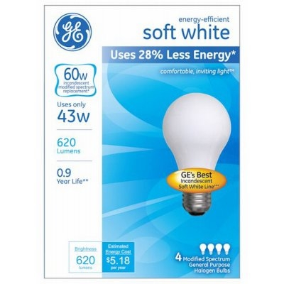 GE A-Line Soft White Halogen Light Bulbs 4pk, 43 W