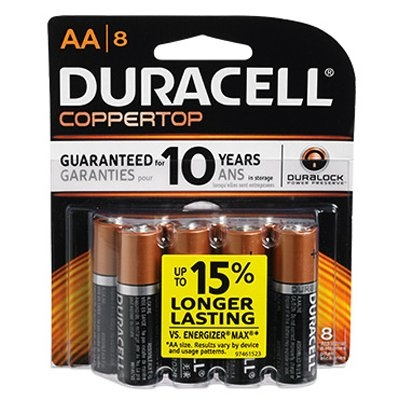 AA 1.5V Alkaline Coppertop Batteries, 8 Pack