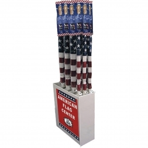 USA Flag With Wood Pole Display