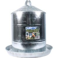 Double Wall Galvanized 5 Gallon Poultry Fountain