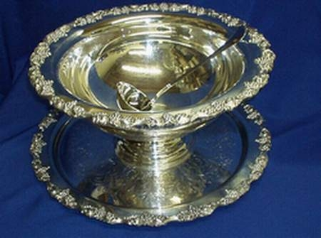 Punch Bowl 10 Qt. Silver With Tray and Ladle