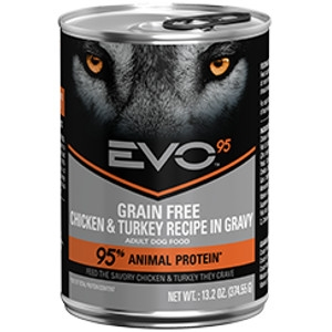 EVO 95 Chicken & Turkey Recipe in Gravy Canned Dog Food