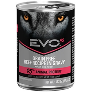 EVO 95 Beef Recipe in Gravy Canned Dog Food