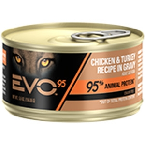 EVO 95 Chicken & Turkey Recipe in Gravy Canned Cat Food