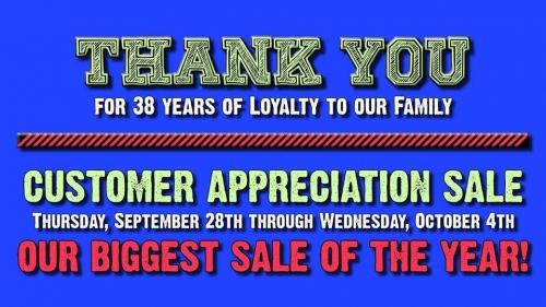 Anniversary Customer Appreciation Sale