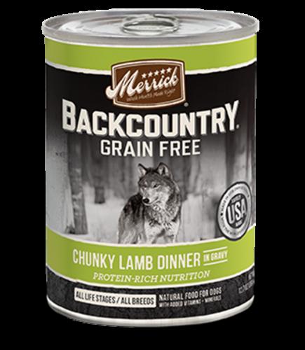 Merrick Backcountry Grain-Free Chunky Lamb Dinner in Gravy Canned Dog Food