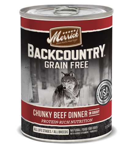 Merrick Backcountry Grain-Free Chunky Beef Dinner in Gravy Canned Dog Food