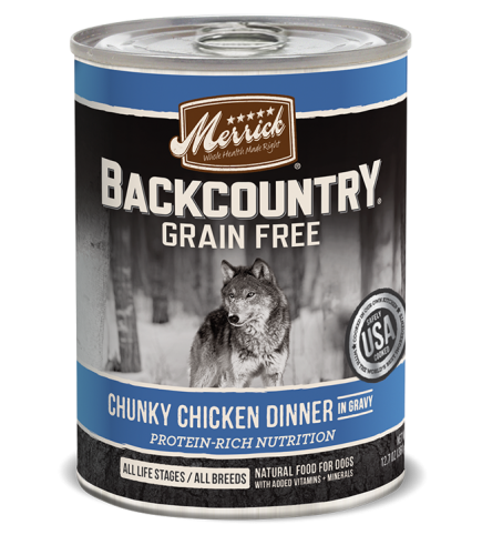 Merrick Backcountry Grain-Free Chunky Chicken Dinner in Gravy Canned Dog Food