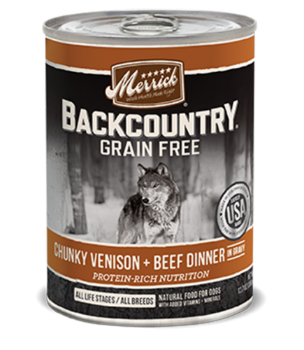 Merrick Backcountry Grain-Free Chunky Venison & Beef Dinner in Gravy Canned Dog Food