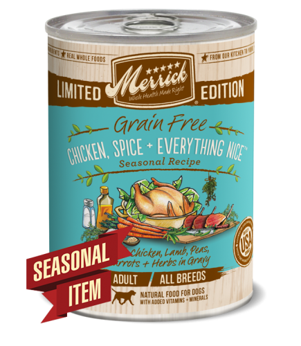 Merrick Seasonal Grain-Free Chicken, Spice + Everything Nice Canned Dog Food
