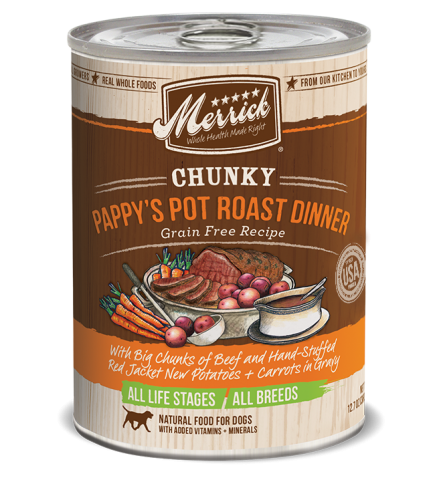 Merrick Chunky Grain-Free Pappy's Pot Roast Dinner Canned Dog Food
