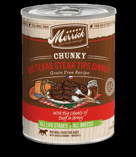 Merrick Chunky Grain-Free Big Texas Steak Tips Dinner Canned Dog Food