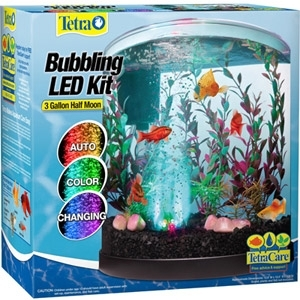 3 Gallon Half Moon LED Aquarium Kit