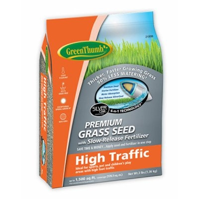 3 lb. Green Thumb High Traffic Grass Seed, $10.99