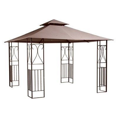 10' x 10' Steel Gazebo with Brown Canvas Top