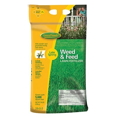 Green Thumb Weed & Feed Lawn Fertilizer, Covers 5,000 sq. ft.