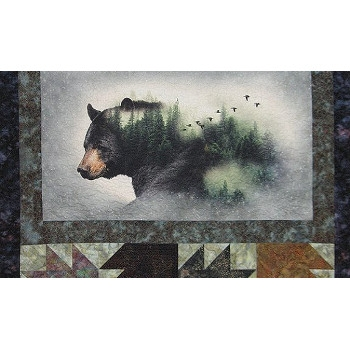 Call of the Wild Bear Fabric Panel by Hoffman Fabrics