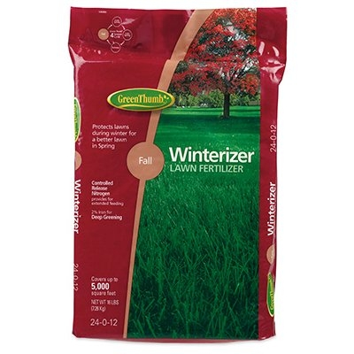 Green Thumb Premium Fall Winterizer Lawn Fertilizer, 24-0-12, Covers 5,000-Sq.-Ft.