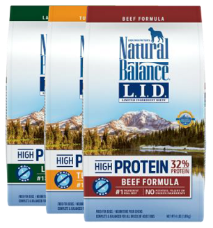 NEW! Natural Balance LID High Protein 24lb: $56.99