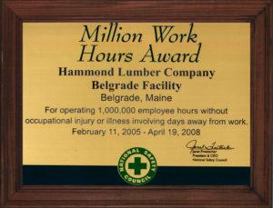 Million Work Hours Award