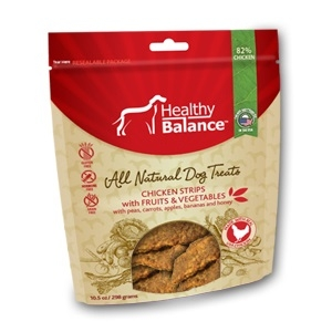 Healthy Balance Chicken Strips Fruit & Veggie Dog Treats, 4.5 oz.