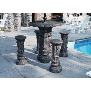 Cement Tiki Table Set Bar Height